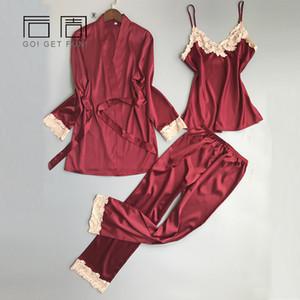 النوم مثير الدانتيل النساء منامة الحرير منامة للنساء بيما أنيقة الربيع النوم الإناث عالية الجودة الحرير بيجامة Y18101601