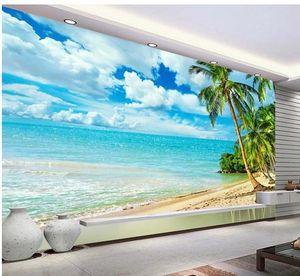 На заказ любой размер пляж стене фреску 3D обои 3D обои для ТВ фоне