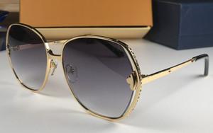 럭셔리 0374U 디자이너 선글라스 대형 금속 프레임 패션 분위기 태양 안경 uv400 보호 인쇄 렌즈 톱 품질의 안경