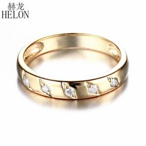 HELON Sólido 18 K AU750 Oro Amarillo Redondo Natural SI / H 0.12ct Diamantes Impresionante Anillo de Bodas Joyería de Compromiso Anillo de Banda para mujer