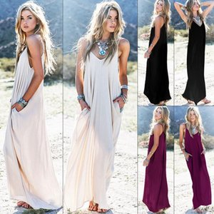 Estate femminile Boho Casual Long Maxi Evening Party Cocktail Beach Dress Sundress Belt Collar Tasche Gonne lunghe Sexy Abito donna KKA4087