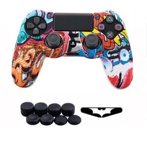 10 in 1 für PlayStation 4 PS4 Schlanke Pro für Dualshock-Controller 4 Silikonhülle mit 8 thumbsticks Griffe Cap
