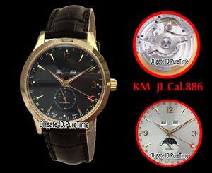 Best Edition KM Master Calendar 1558420 Oro amarillo Dial negro ETA Cal.886 Reloj automático para hombre Puretime (Corregir fase lunar) JL6