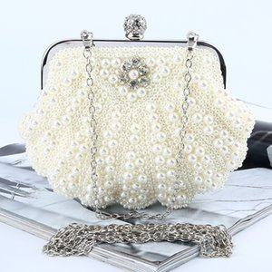 Hand bags clutch bag pearl box bags Diamond rhinestone Luxury banquet package Pure manual satin evening bags for bridal and lady wear