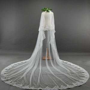 Luxo Duas Camadas Longo Borda Do Laço Véu De Noiva Branco Marfim Catedral Comprimento Véus De Noiva com Pente Anexado Custom Made Frete Grátis