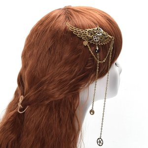 1 adet Vintage Lolita Dişli Kanatları Zincir Püsküller Saç Klip Steampunk Gotik Bayan Şapkalar Hızlı Sevkiyat Yeni