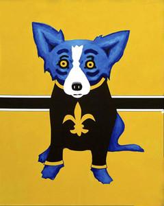 Perro azul George Rodrigue animal, pintura al óleo de reproducción de alta calidad Lámina Impresión en lienzo Modern Home Decor Arte G050