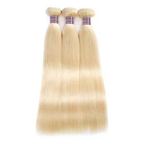 Nouvelle Arrivée Produits 613 Bundles Blonde Péruvienne Droite Extensions de Cheveux Humains 10 pouces À 28 pouces Remy Cheveux Brésiliens Armure Livraison Gratuite