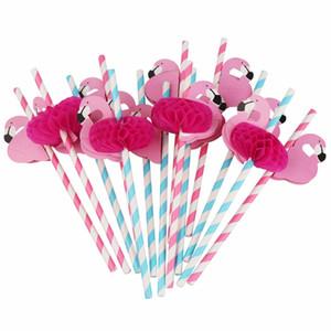 Arte ecologicamente correta 100pcs Flamingo palhas papel partido bebendo havaiana palhas Decor Disposable Tableware aniversário decorações do partido crianças