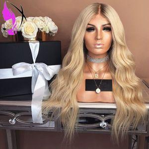 Simülasyon İnsan Saç Peruk Yüksek Sıcaklık Tutkalsız Sentetik Dantel Açık Peruk İçin Kadınlar Sarışın Peruk Long ombre kahverengi kökleri wavy Hotselling