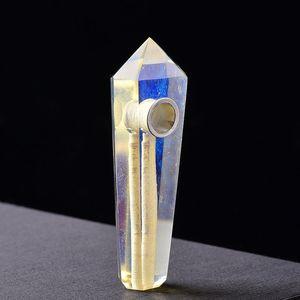 Doğal kuvars sarı opalite kristal Taş noktası mavi opal Değnek şifa için taşınabilir sigara boru beyaz tütün opal sigara boru