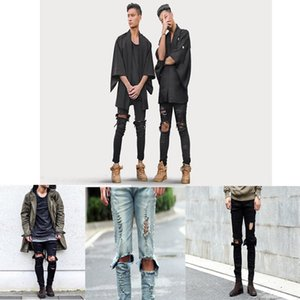 New Stretch Men's Jeans Washed Hole Feet Men's Trousers Waist Trend Feet Pants Men's jeans shorts 29-36