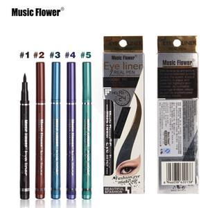 음악 꽃 5 색 검정 갈색 파란색 보라색 녹색 액체 아이 라이너 펜 방수 아이 라이너 브랜드 메이크업 아이 화장품