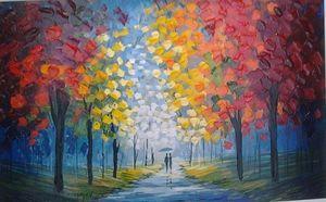 Walking With Me - Slava Ilyayev, Handpainted / HD-Druck-Landschaftswand-Kunst-Ölgemälde auf Leinwand-Wand-Dekor-Multi Custom Sizes / Frame L054