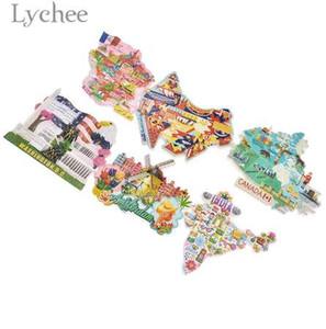 Imán del refrigerador de la resina del panorama nacional de Lychee Francia Australia Canadá La India Imanes del refrigerador Recuerdos del viaje Decoración casera