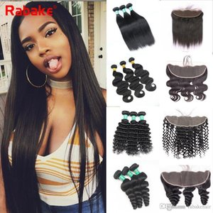Brazilian Unprocessed Virgin Hair Bundles with Frontal Rabake 4Pcs Loose Deep Wave Body Wave Weave Hair Bundles 13x4 Ear to Ear Lace Closure