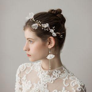 2018 Ile Yeni Romantik 3D Şifon Çiçek Boncuklu Gelin Hairband Küpe Altın Taşlar Düğün Gelin Headpieces Düğün Aksesuarları CPA1427
