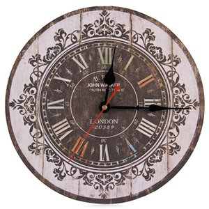 Silent Round Decorative Vintage Style Wooden Wall Clock