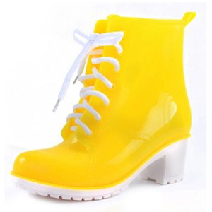 Women Rain Boots Color Ankle Heels Platform Lace Boots Rubber Shoes Candy High Up Rain 36-41 Size NEW Woman Pkqlm