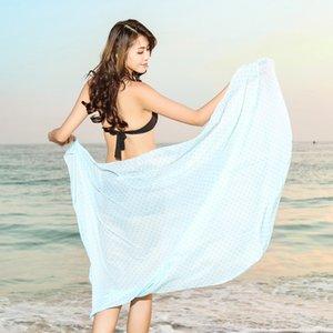 Strand Schal Pareo Sommer Chiffon Reine Farbe Dot Printing Silk Schal Oversize Sonnencreme Strand Schal Weibliche Marke Schal