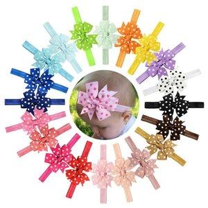 20Pcs Yeni Tasarım Tatlı Çocuk Grogren Şerit Bow Dot Kafa Prenses Yuvarlak Dot ilmek Elastik Saç Bantları Güzel Huilin C05
