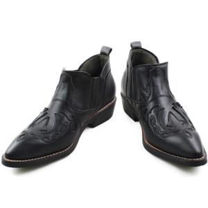 NOVAS Botas Hombre 3.5 cm Saltos de Couro Botas De Couro Dos Homens Apontou Costura Couro Preto Botas de Trabalho de Couro Genuíno Ocidental Cowboy Ankle Boots
