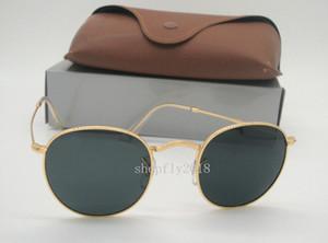 Gafas de sol redondas para mujer sin mangas para hombre Gafas de sol del metal Gafas retro para gafas de sol negro con lentes de oro 50 mm con caja marrón
