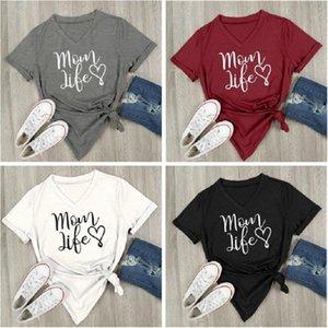 Maman vie Coeur col V à manches lettres imprimé Casual vrac T-shirt Haut T Hauts de maternité