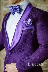 2017  Purple Mens Floral Blazer Designs Mens Paisley Blazer Slim Fit Suit Jacket Men Wedding Tuxedos Fashion Male Suits