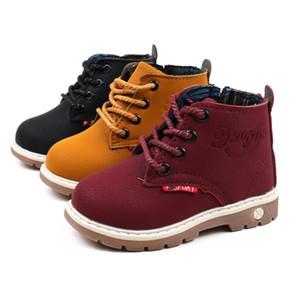 Nova Primavera Outono Inverno Moda Botas de Neve de Couro de Criança Para Meninos Meninas Quente Martin Botas Sapatos Casuais Sapatos de Pelúcia Da Criança Do Bebê Da Criança 21-30