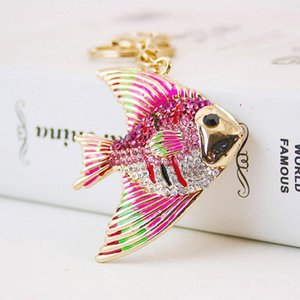 Cute Cartoon Pet Tropical Fish Keychain - Rhinestone Womens Car Key Chain Ring Holder Bag colgante encanto joyería de moda