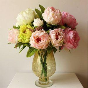 Şakayık Buket Yapay Şakayık İpek Çiçek Sahte Yaprak Ev ve Düğün Dekorasyon 7 Şakayık çiçekleri baş 5colors seçim
