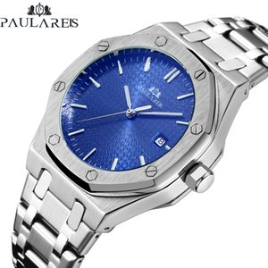 Men Automatic Self Wind Mechanical Stainless Steel Strap Simple Business Blue Rose Gold Yellow Gold Date Watch C18111601