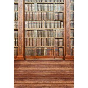 Graduation Saison École Bibliothèque Vinyle Décors pour la Photographie Vintage Livres Enfants Enfants Rétro Photo Studio Arrière-plans Bois Plancher