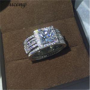 Choucong роскошные ювелирные изделия Принцесса вырезать 3ct Diamonique Cz стерлингового серебра 925 3-в-1 обручальное кольцо обручальное кольцо набор для женщин мужчин
