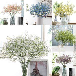 Yüksek Kalite DIY Yapay bebeğin Nefes Çiçek Gypsophila Sahte Silikon Bitki Düğün Ev Otel Parti Süslemeleri için 6 Renkler