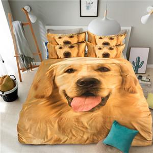 3D Golden Retriever Animal Jogo De Cama Bonito Pet Dog Duvet Cover Conjuntos de Cama Gêmeo Completa Rainha King Size 3 pcs Kid Teen Girl Têxtil