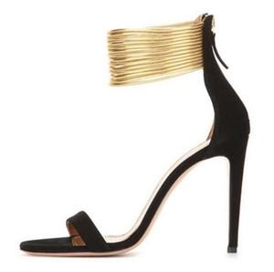 Sexy Gold Knöchelriemen High Heel Sandaletten für Frauen Cut-out Thin Heel Sommerkleid Schuhe Zurück Reißverschluss Riemchensandalen