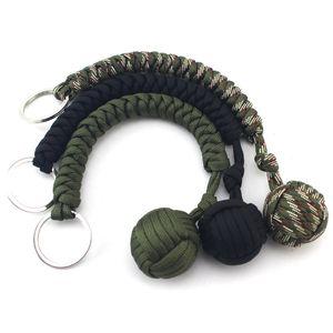 Autodefensa al aire libre pulseras de supervivencia Seven Core Parachute Cord trenzado clave hebilla con bola de acero cadena colgante Nueva llegada 5 8 mx B