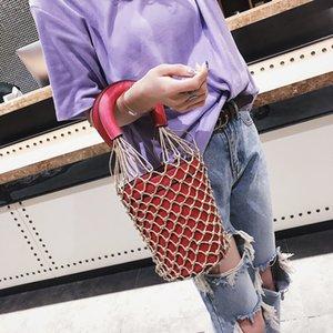 Korean Japanese Hollow Net Bucket Bag Women Barrel Basket Tote hand bags Lady Vintage Handbag Summer Sea Beach bag