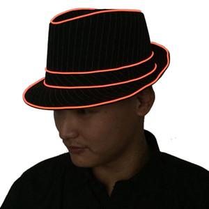 1.5 V LED Caz Şapka Fedora Falshing Sahne Gösteren Cadılar Bayramı Fantezi Elbise Parti (Sarı Işık)