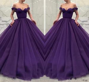Neue Mode Luxus Lila Abendkleider 2018 Off-Shoulder Kleider Für Besondere Anlässe Ballkleid Formale Lange Prom Party Wear