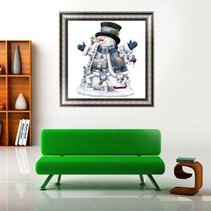 Wholesale 1 Set 30x30cm Full Diamond 5D DIY Diamond Painting Christmas Snowman Embroidery Cross Stitch Mosaic Painting Home Decor