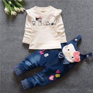 Baby-Herbstkleidung stellte Klage childern Frühlingsdenimhose + die Hemdkleidung ein, die Kindermädchenwinterunterwäscheanzug setzt