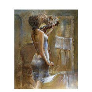 Figura pintura sem moldura tocar o violino diy pintura by numbers handpainted caligrafia pintura original do presente para a decoração da casa