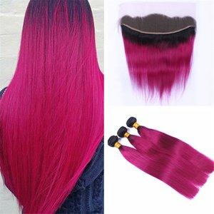 Шелковистые прямые ярко-розовые пучки наращивания волос Ombre с фронтальным закрытием 2 тона 1B / розовый Ombre переплетения человеческих волос с кружевом фронтальной