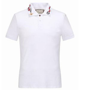 Diseñador del verano Polos Hecho en Italia Tee Homme Camiseta de lujo para hombres de High Street de manga corta bordado Snakes abeja ropa