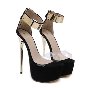 New Fashionl Women 17cm High Heel open Toe gladiator Catwalk show style platform sandals Sexy Lady party shoes big size