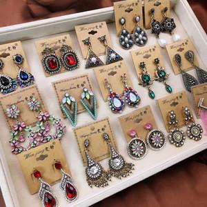 10 pairs retro Bohemian eardrop Takı Lots halk tarzı abartılı uzun püskül küpe çiçekler Yaprak Kalp küpe dangler Takı