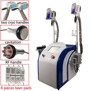 A máquina de congelação gorda a mais nova com punhos dobro de Cryo + máquina do emagrecimento da perda de peso do laser Lipo + Cavitation + RF para termas